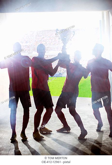 Silhouette of soccer players holding trophy
