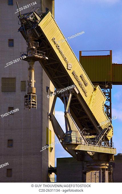 Grain fodder silos and cranes, Rouen Cereal harbor, Rouen, 76, Normandy, France