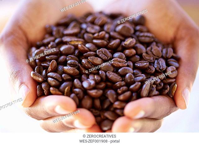 Woman's hands holding coffee beans