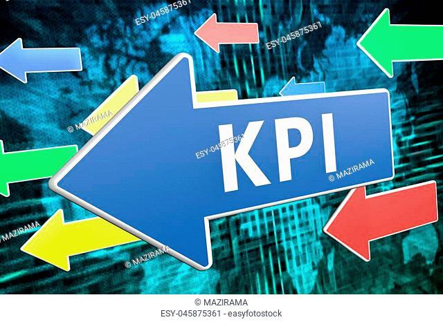 KPI - Key Performance Indicator - text concept on blue arrow flying over green world map background. 3D render illustration