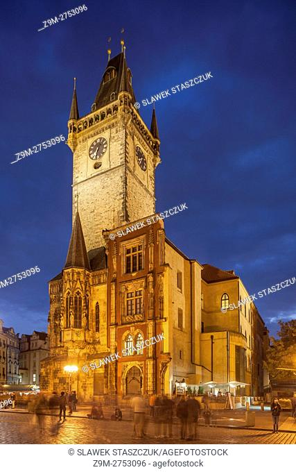 Night falls on old town square in Prague, Czech Republic