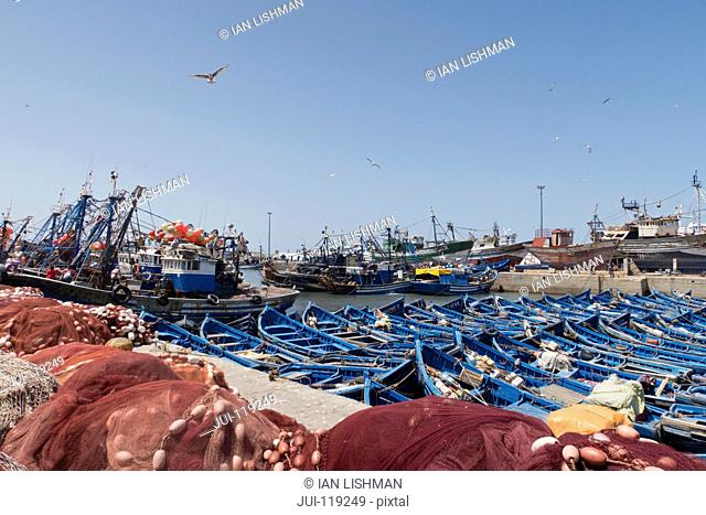 Essaouira harbour, Morocco and fishing boats