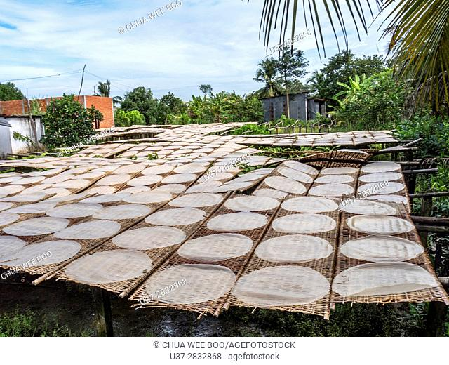 Drying rice paper, Can Tho Province, Vietnam