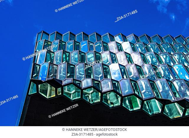 Exterior of Harpa concert hall in Reykjavik, Iceland