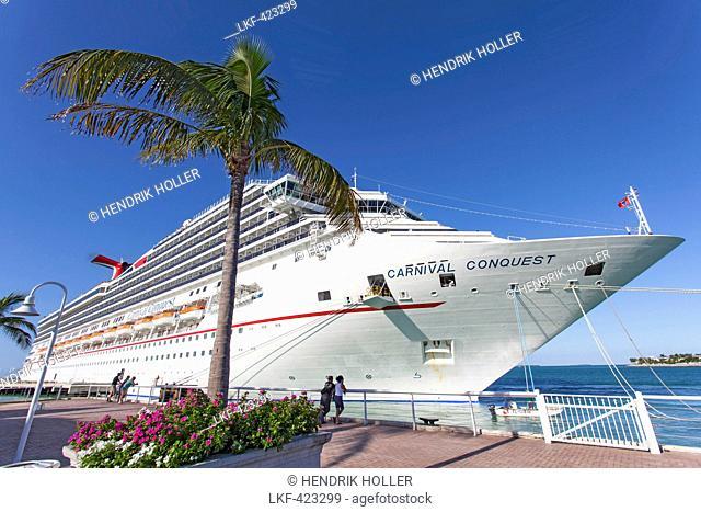 Luxury cruise ship docked at the port of Key West, Florida Keys, Florida, USA