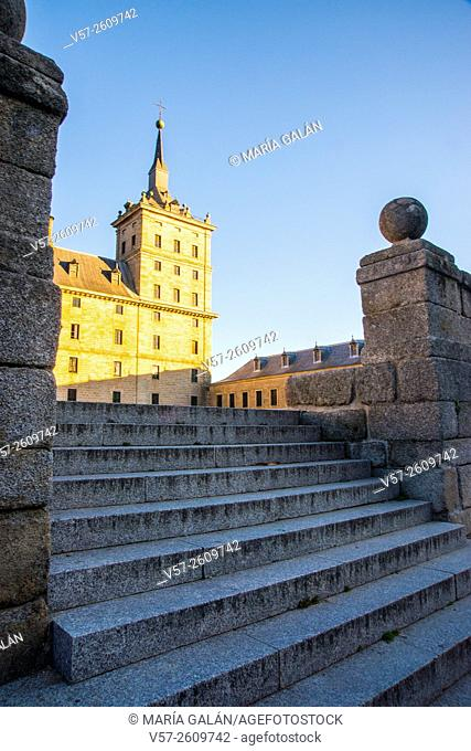 Stairs and facade of La Lonja. Royal Monastery, San Lorenzo del Escorial, Madrid province, Spain