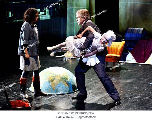 Actors from theOper Stuttgart, Jeanne Seguin (L, Momo) and Thomas Fleischmann (R, Agent), rehearse the children's opera Momo in the Kammertheater in Stuttgart