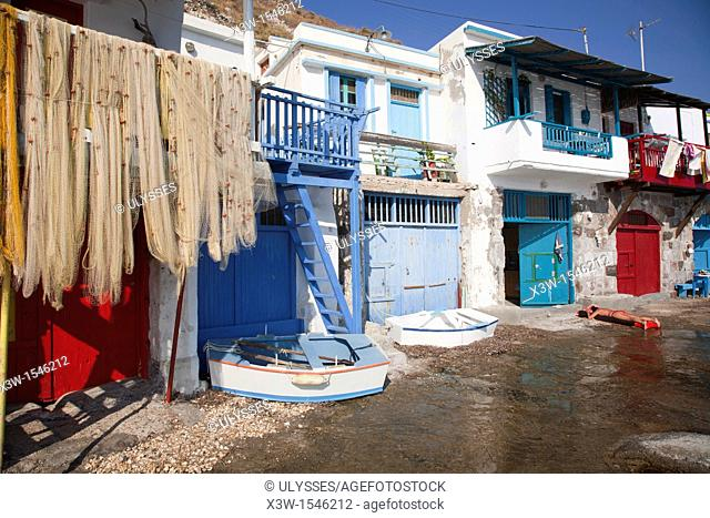 fishing nets, klima village, milos island, cyclades islands, greece, europe