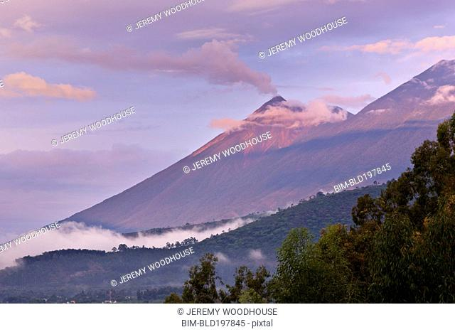 Clouds and mountain in remote area