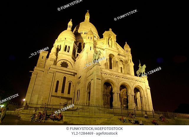 Basilica of the Sacred Heart of Jesus of Paris at sunset Montmartre,- Sacré-Cœur Basilica