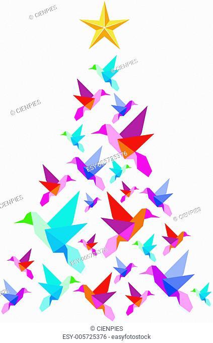 Origami hummingbirds Christmas tree