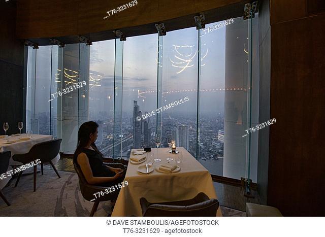 Interior of Mezzaluna Michelin restaurant, Bangkok, Thailand