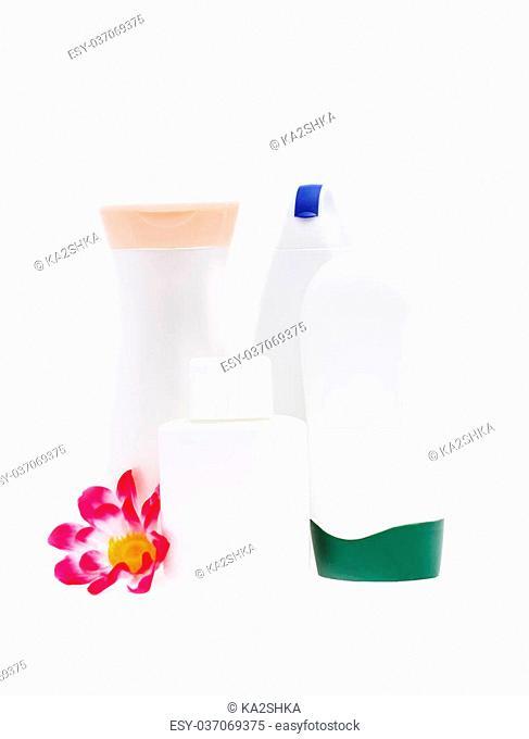 Set of blank white plastic cosmetics bottles isolated on white background