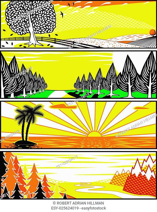 Set of editable vector banner illustrations of landscapes in popart style