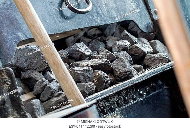 Coal used for a vintage steam locomotive - The Netherlands