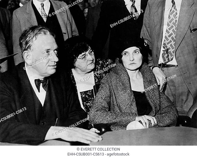 Phoenix Trunk Murderess during her arraignment in Los Angeles on October 26, 1931. L-R: Louis P. Russell, attorney; Ann Hamilton