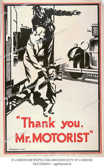 'Thank You Mr Motorist', London County Council (LCC) Tramways poster, 1932. Showing a car giving way to allow a mother and child off the tram with the help of...