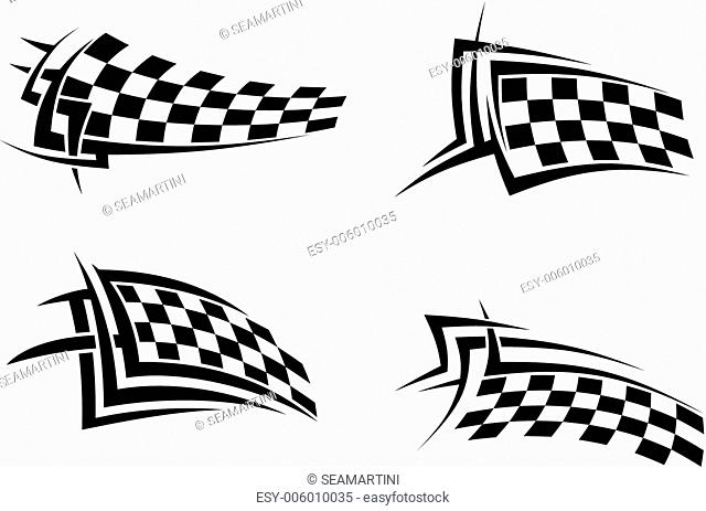 Tribal signs with checkered flags for sports or tattoo design