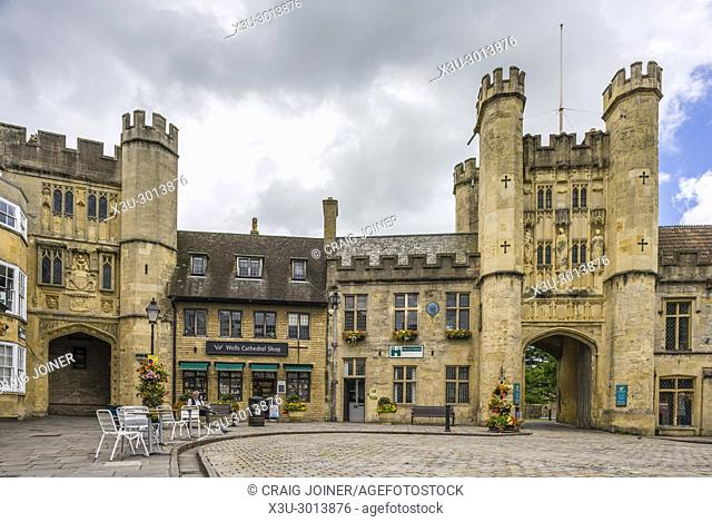 Wells Market Place with Penniless Porch left and Bishop's Eye right, Somerset, England