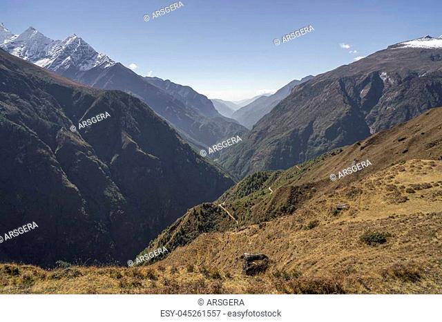 Dudh Kosi river Canyon in Himalayas. Everest base camp trek in Nepal