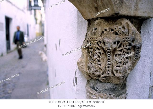 Córdoba Andalusia  Spain:Detail of corner, in Bosco street at Alley de las Flores