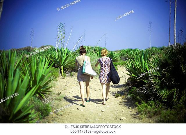Two girls in Cabo de Gata, Almeria, Spain