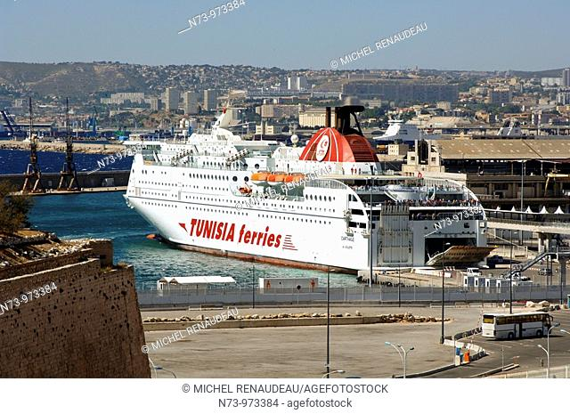 France, Marseille, Ferry port, ferries depart to Corsica and Algeria