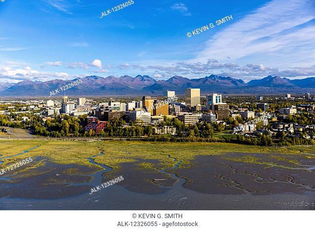 Aerial view of downtown Anchorage and low tide flats of Cook Inlet, Southcentral Alaska, USA