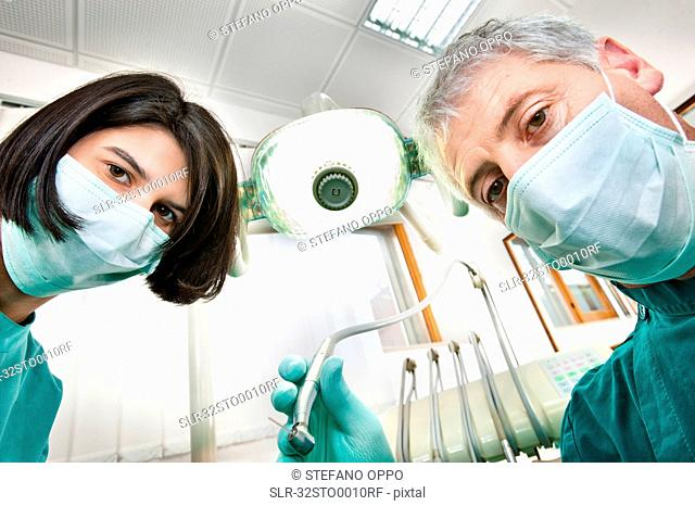 Dentist and assistant working in office