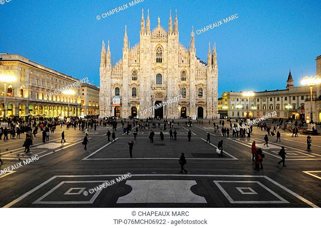 Europe , Italy Lombardy ,the Duomo, Gothic style cathedral, Milan