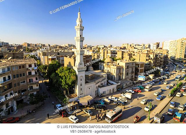 Overview of Asyut downtown with El Helaly mosque. Egypt