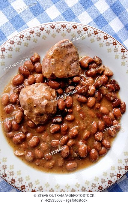 Greek Cuisine. Keftedakia Meatballs with Beans