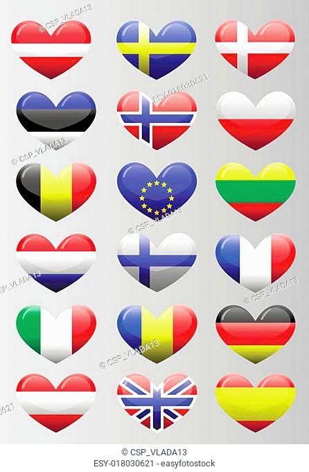 european flags heart