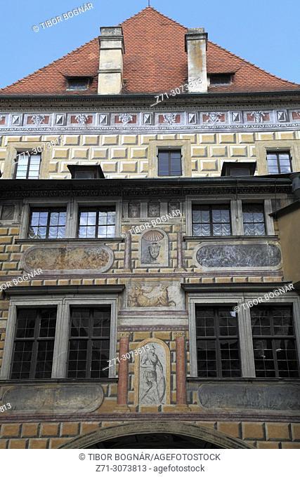 Czech Republic, Cesky Krumlov, Castle, historic monument, painted walls,