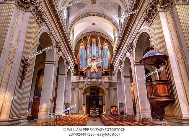 Basilica Organ Saint Louis En L'ile Church Paris France. Saint Louis En L'ile church built in Notre Dame was built in 1726 on the island in back of Nortre Dame