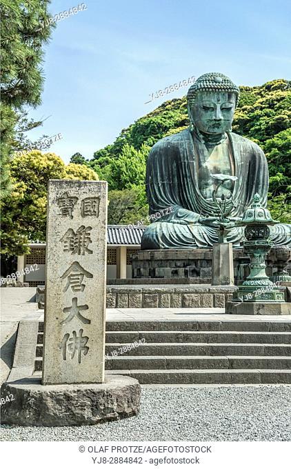 Great Buddha, Daibutsu, a monumental outdoor bronze statue of Amida Buddha at the Kotoku-in a Buddhist temple of the Jodo-shu sect, Kamakura, Kanagawa, Japan