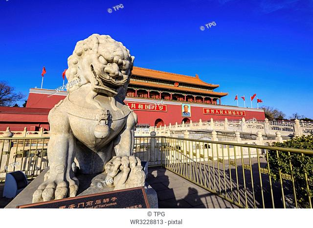 Stone Lion in front of Tiananmen Gate;Beijing; China
