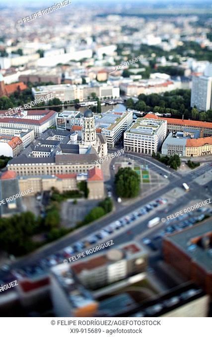 Aerial view from the TV Tower of Judenstrasse and the Altes Stadthaus focus, Berlin, Germany (Tilted lens used for a shallower depth of field and to create