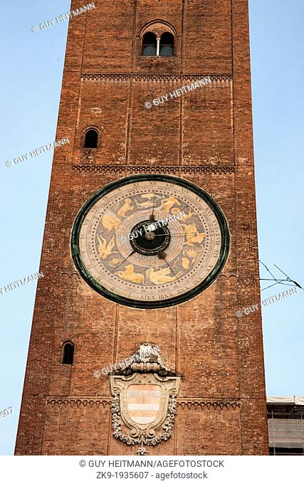 Torrazzo, the bell tower of the Cathedral of Cremona, largest astronomical clock in the world, Cremona, Lombardy, Italy