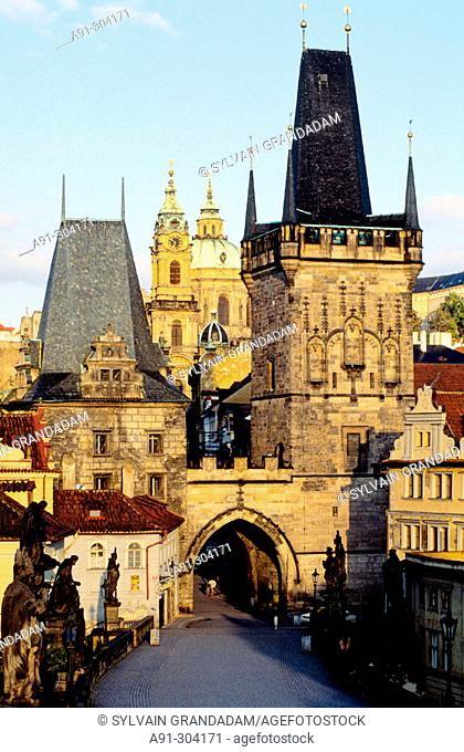 Overview on the Hradcany Castle Hill from Charles Bridge. Prague. Czech Republic