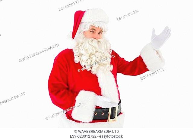 Portrait of santa claus showing