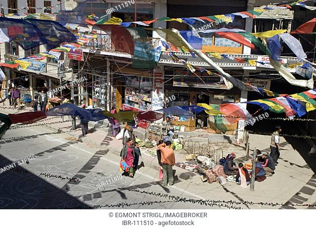 Streetscape in the bazar area of Leh, Ladakh, Jammu and Kashmir, India