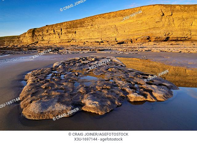 Dunraven bay in the winter sun at Southerndown on the Glamorgan Heritage Coast, Wales