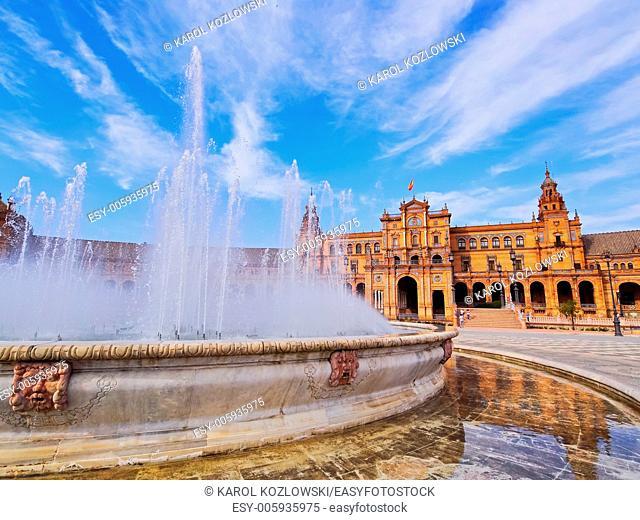 Fountain on Plaza de Espana - Spanish Square in Seville, Andalusia, Spain