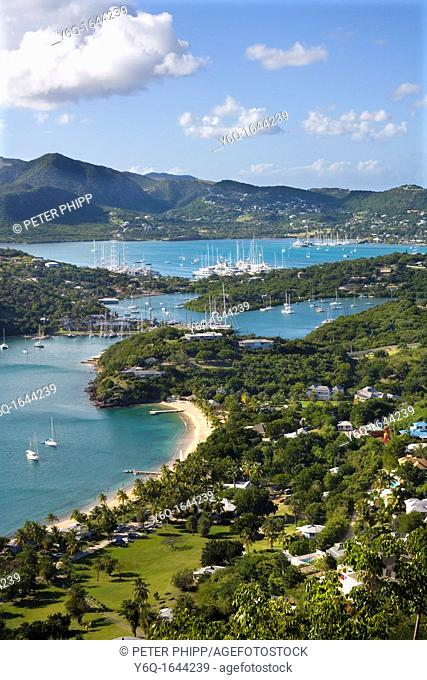 View of English Harbour and Nelsons Dockyard and Falmouth Harbour in the distance, Antigua Caribbean