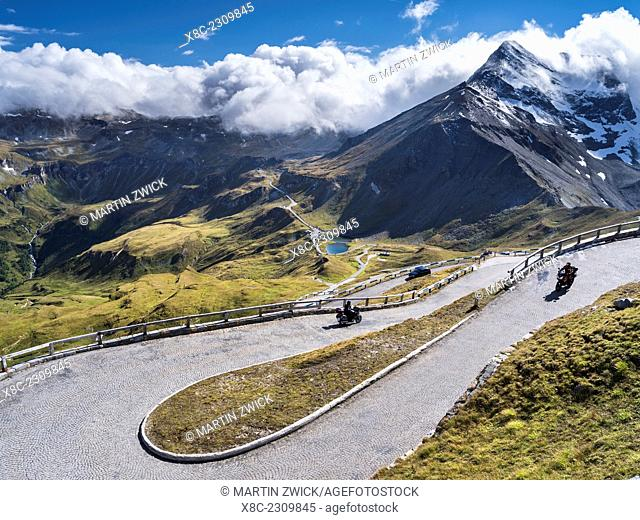 The Grossglockner High Alpine Road is mainly used by tourists and one of the major attractions of the Austrian Alps. Switchbacks close to Mount Edelweissspitze