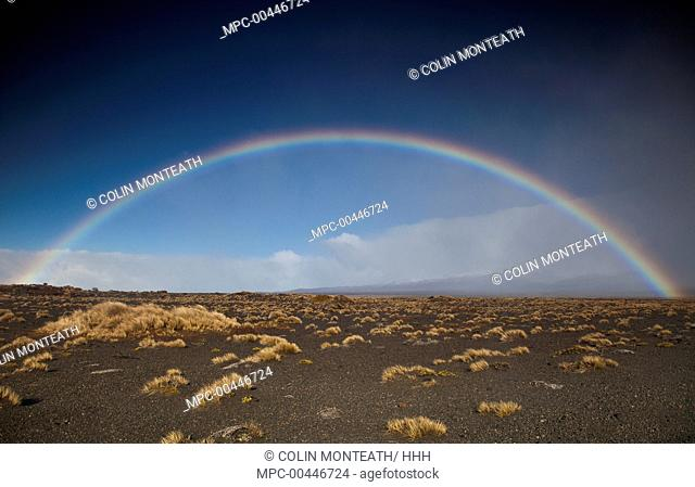 Rainbow over Rangipo Desert near Mount Ruapehu, Tongariro National Park, New Zealand