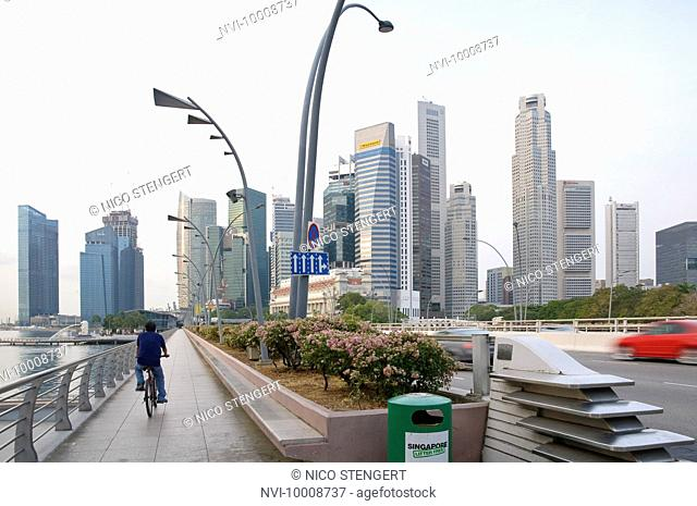 Skyline of the financial district, central business district at Marina Bay, Singapore, Southeast Asia, Asia