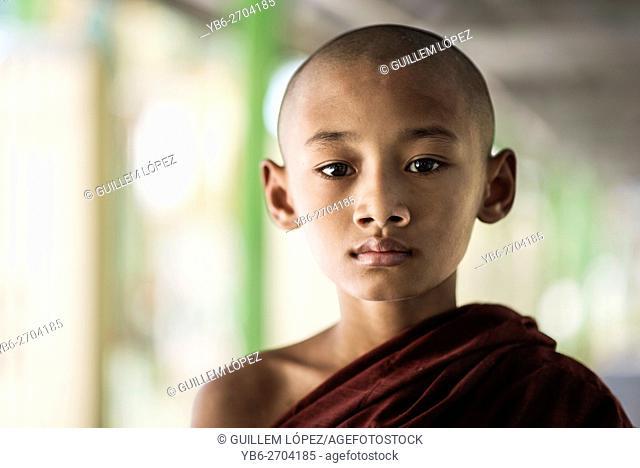 Buddhist young monk, Dala, Yangon, Myanmar