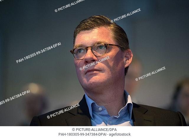 05 March 2018, Germany, Stuttgart: Till Oberwoerder, the head executive of Daimler Buses, attends his company's annual press conference